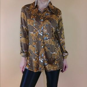 Tops - Vintage 1970s novelty cheetah print disco blouse